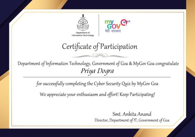 Cyber Security Quiz-MyGov Goa
