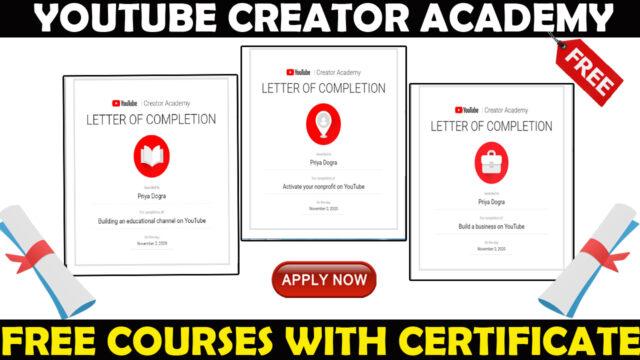 youtube creator academy free courses