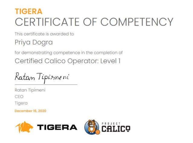 Certified Calico Operator Level 1 Exam Answers – Tigera