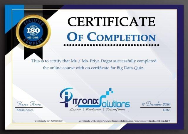 itronix solutions big data quiz certificate