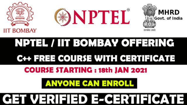 NPTEL IIT Bombay free c++ course
