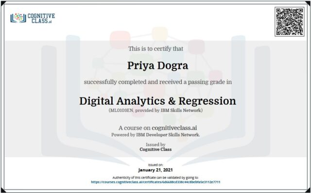 Digital Analytics & Regression Cognitive Class Certificate