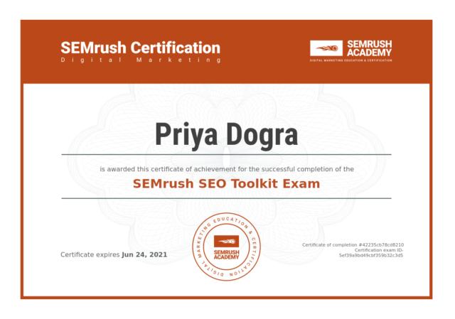 SEMrush SEO Toolkit Certification Exam Answers