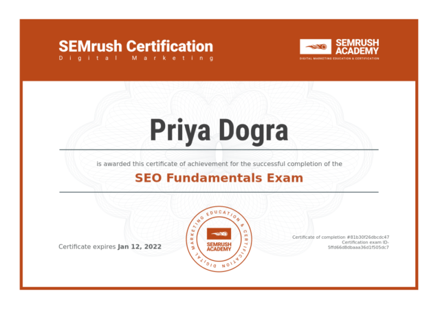 Semrush SEO Fundamentals Certification