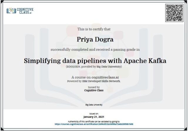 Simplyfying Data pipelines using Apache cognitive class answers