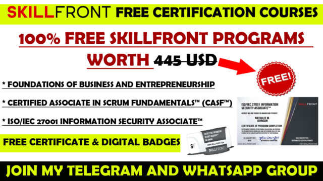 Skill front free certification programs