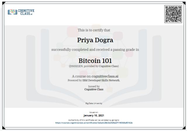 bitcoin 101 cogitive class answes