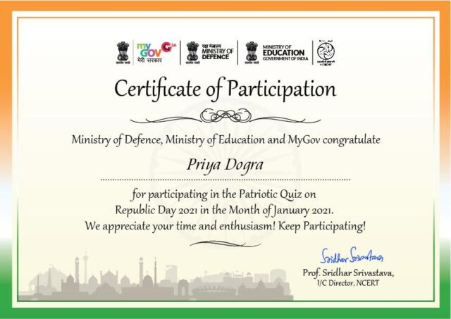 Free Govt Certificate of Patriotic Quiz on Republic Day by Ministry of Education and Ministry of Defence | My Gov