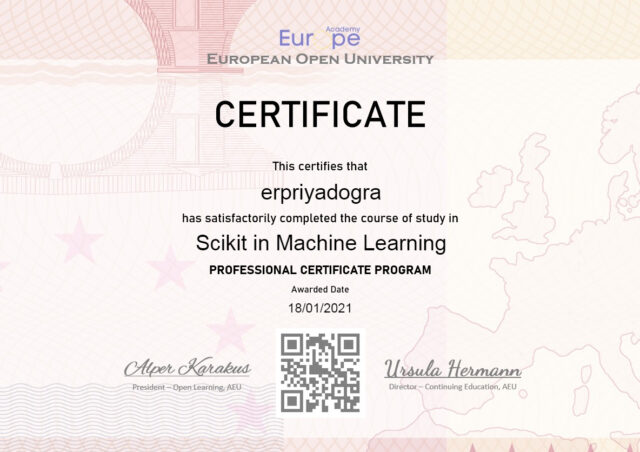 Scikit in Machine Learning Free Certificate