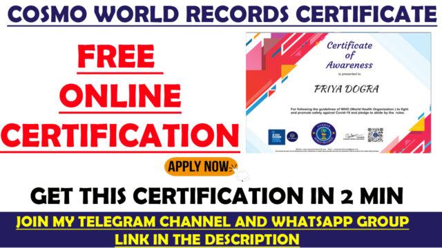 cosmo world records certificate