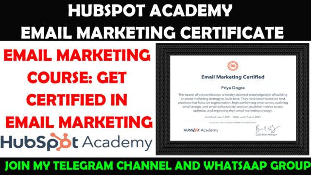 hubspot academy email marketing free certificate