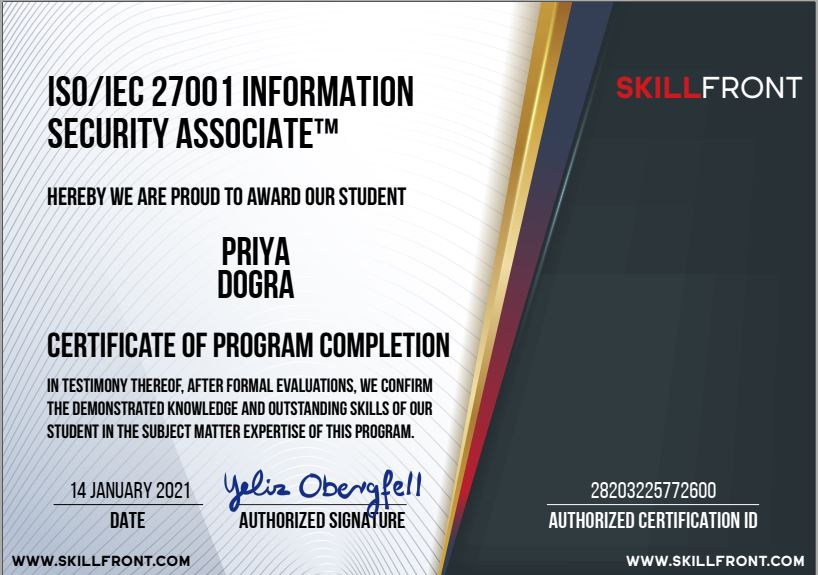 FREE ISO/IEC 27001 Information Security Associate™ skillfront certification