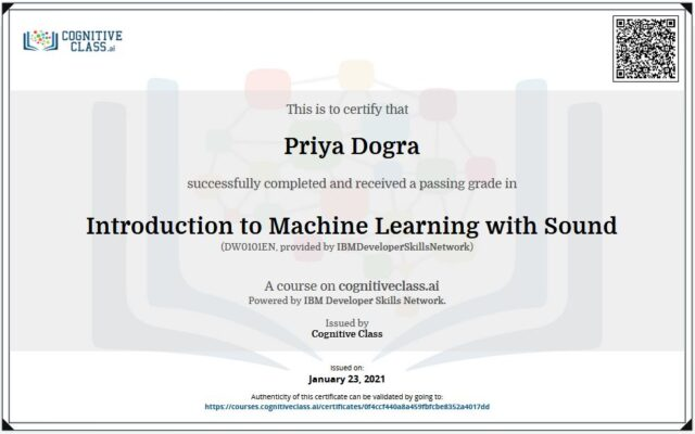 machine learning cognitive class