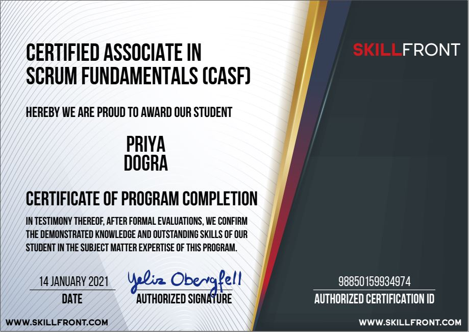 Certified Associate In Scrum Fundamentals™ (CASF™) free skillfront certifications