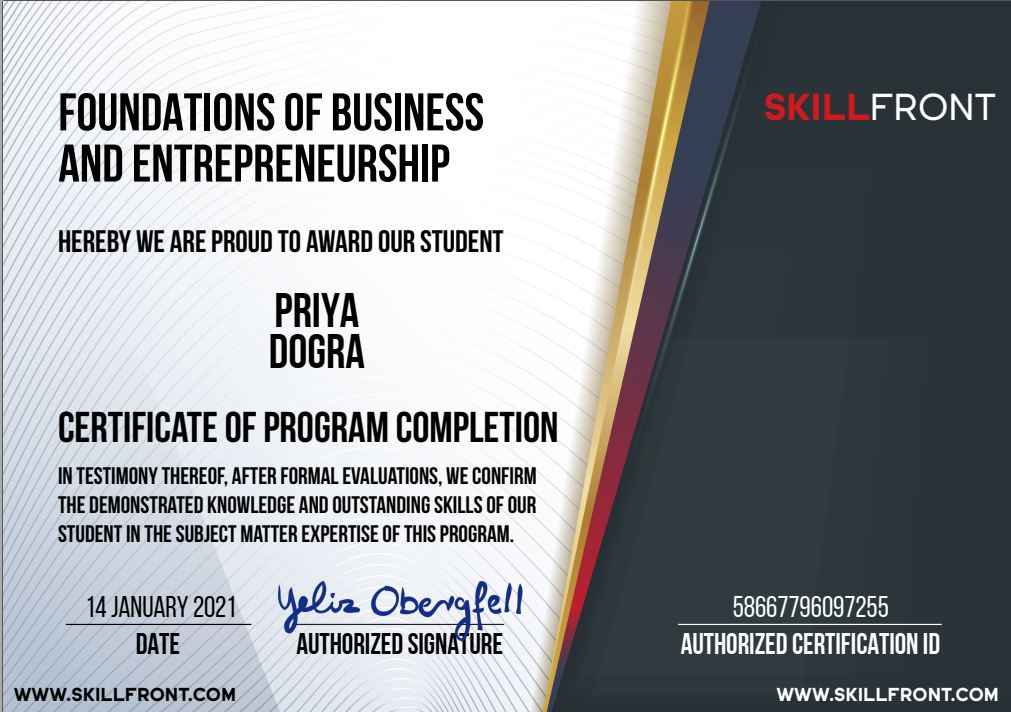 Foundations Of Business And Entrepreneurship™ free skillfront certifications