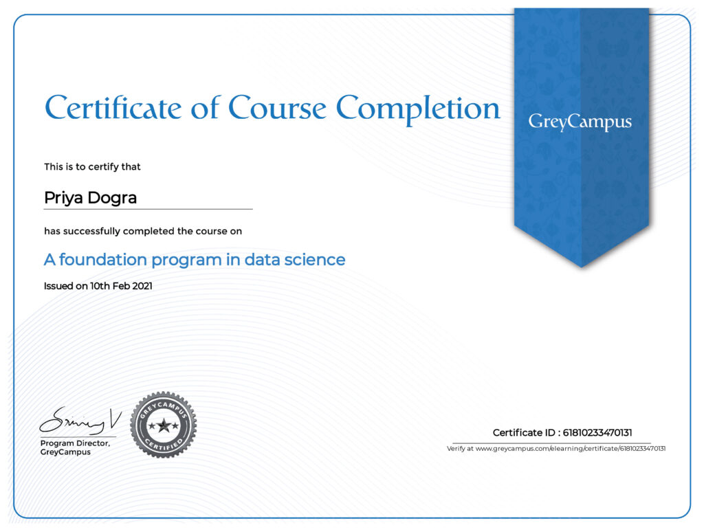 A Foundation Program in Data Science Quiz Answers - Grey Campus