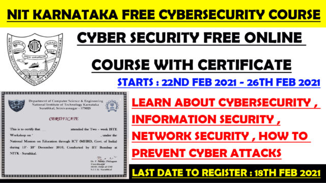 Nit free cybersecurity course with certificate
