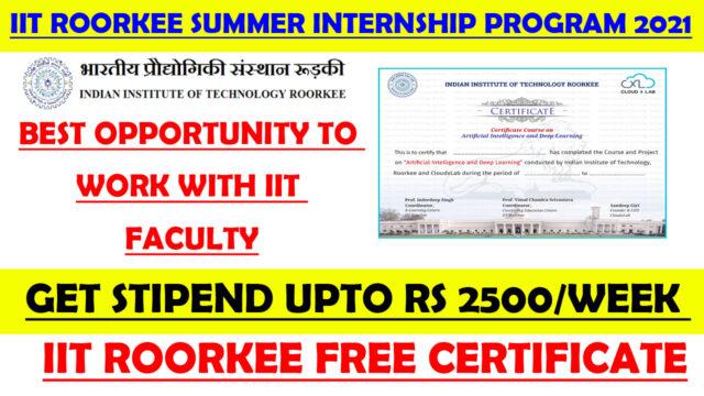 iit roorkee free internship certificate