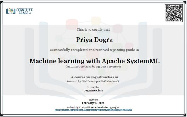 Machine learning with Apache SystemML Cognitive class answers certification