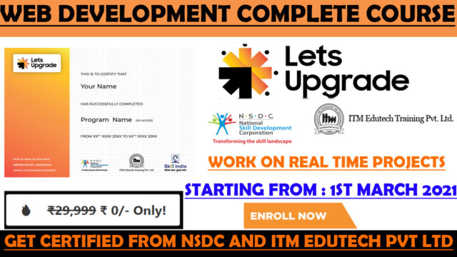 NSDC Free Certificate | Web Development Free Course and Certificate | Lets Upgrade