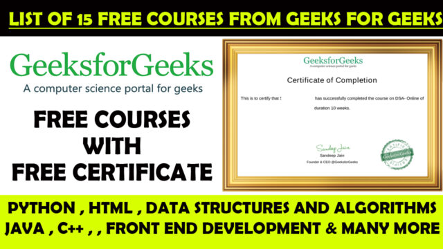 geeks for geeks free certificate and courses