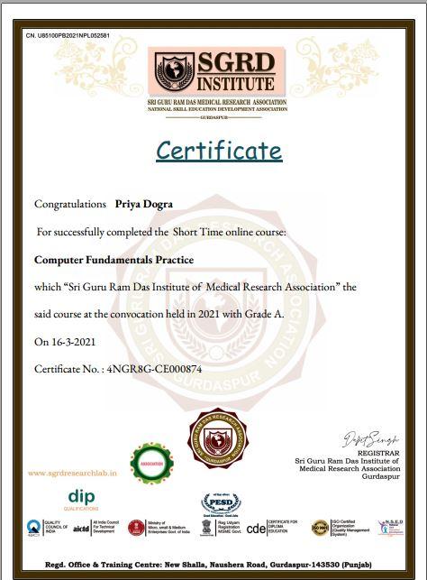 Computer Fundamentals Free Certificate