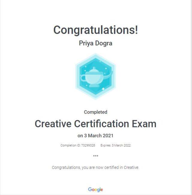 Google Creative Certification Exam Answers