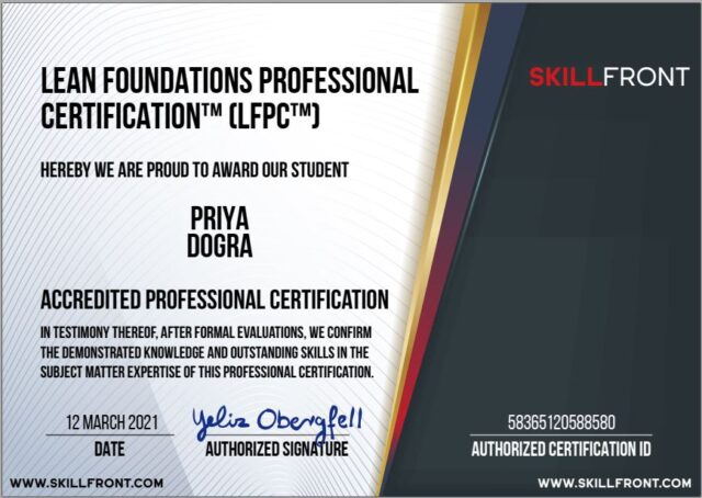 Lean Foundations Professional Certification™ (LFPC™) SkillFront Exam Answers