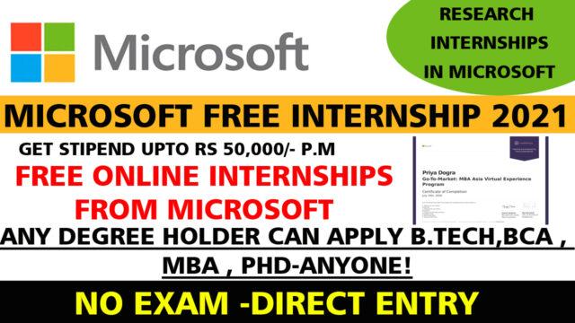 Microsoft Internships 2021