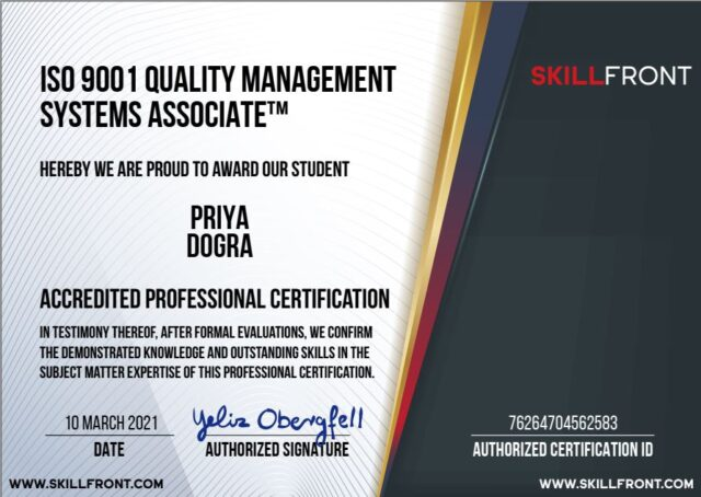 Quality Management System Skillfront Exam Answers