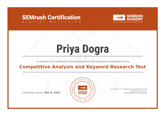 SEMrush Competitive Analysis and Keyword Research Test Exam Answers 2021