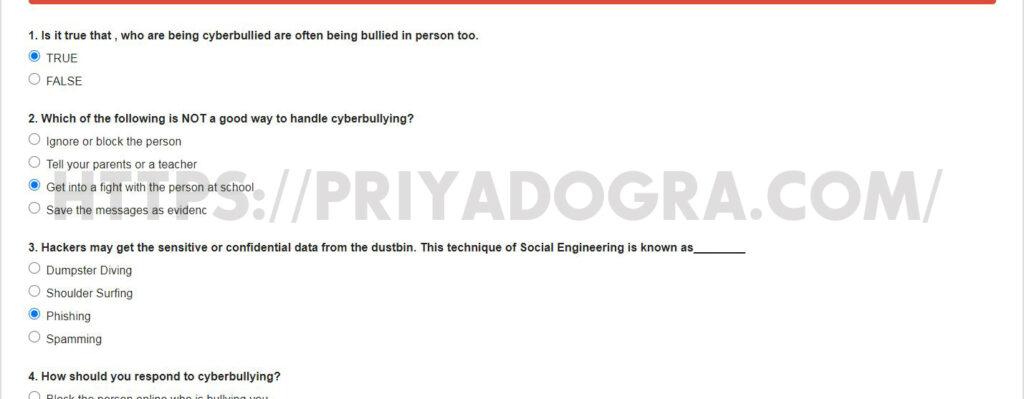 cyber bullying quiz answers-isea