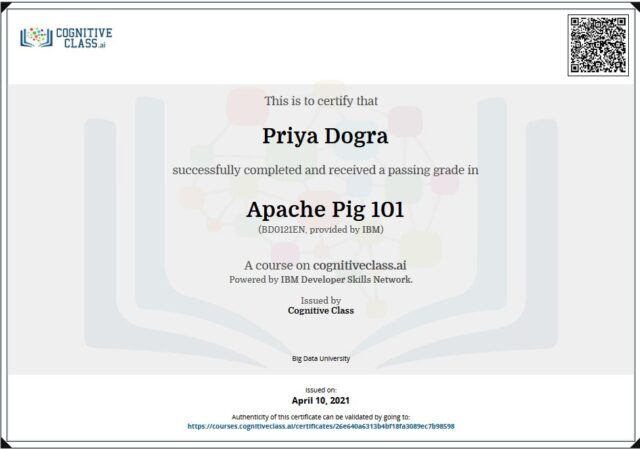 Apache Pig 101 Cognitive Class Exam Answers