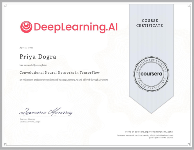 Convolutional Neural Networks in TensorFlow Coursera Quiz Answers