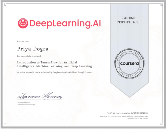 Introduction to TensorFlow for Artificial Intelligence, Machine Learning, and Deep Learning Coursera Exercise Quiz Answers