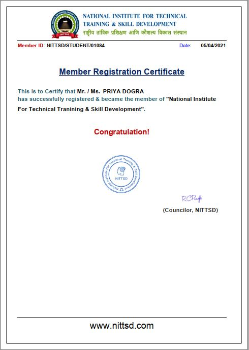 National Institute of Training and Skill Development Certificate