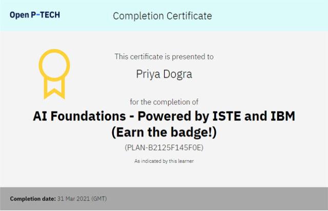 IBM AI Free Certificate