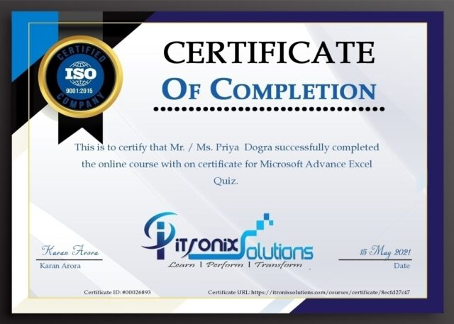 microsoft advance excel free certificate