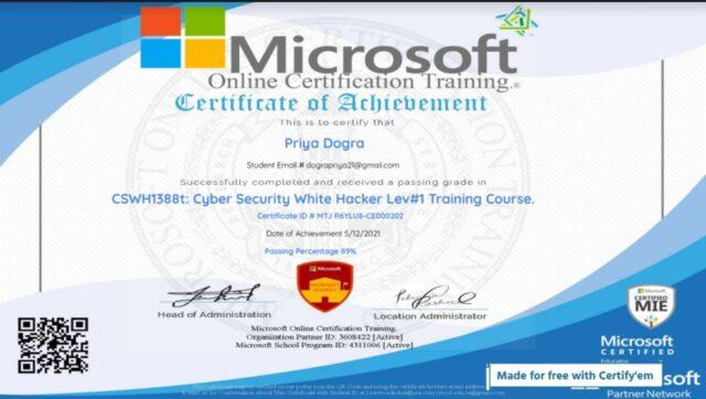 microsoft cyber security certificate