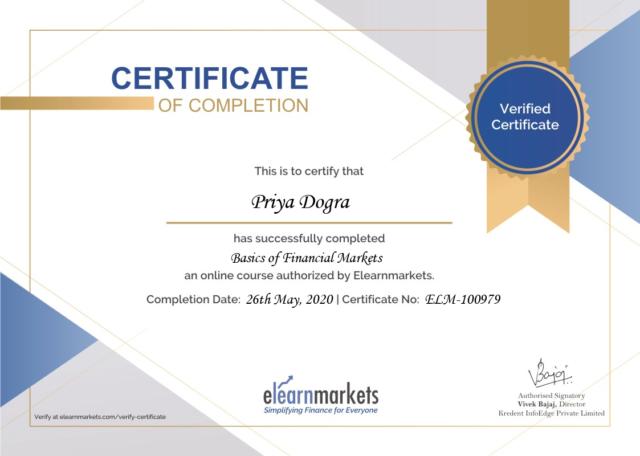 priya dogra basics of fnancial market elearn market certificate