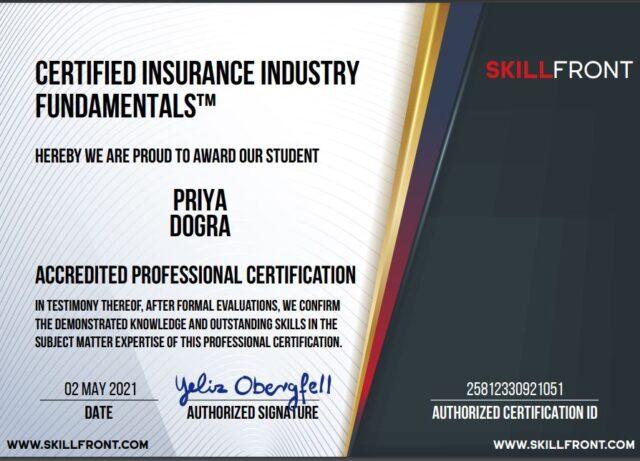 skillfront certified insurance industry certificate
