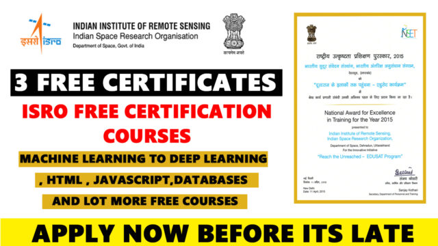 ISRO Free Machine learning Certificate and Course