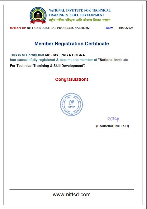 National Institute of Technical Training and Skill Development Membership Certificate
