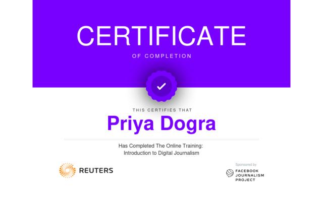 digital Journalism free certificate