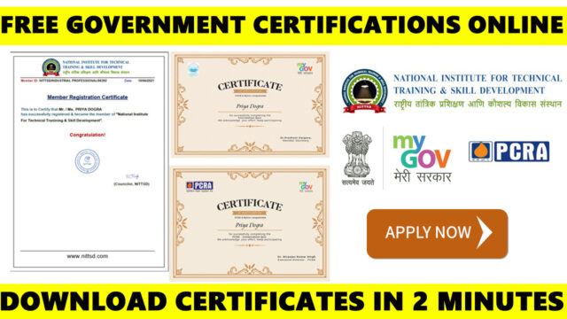 free government certificates online