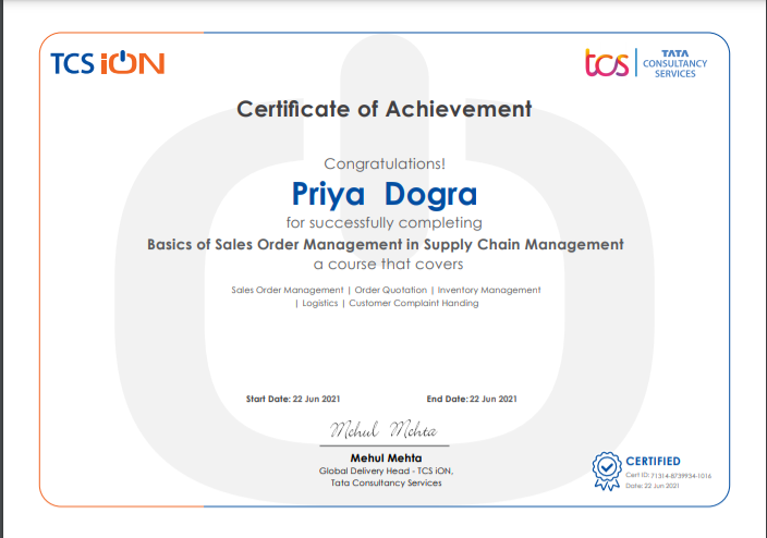 tcs ion free sales certificate