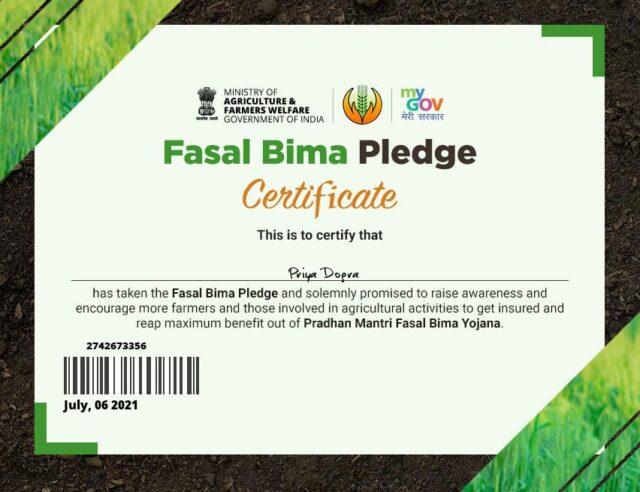 Pradhan Mantri Fasal Bima Yojna Free Certificate - Ministry of Agriculture & Farmers Welfare