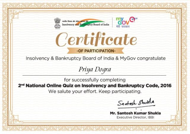2nd National Online Quiz on Insolvency and Bankruptcy Code 2016 certificate