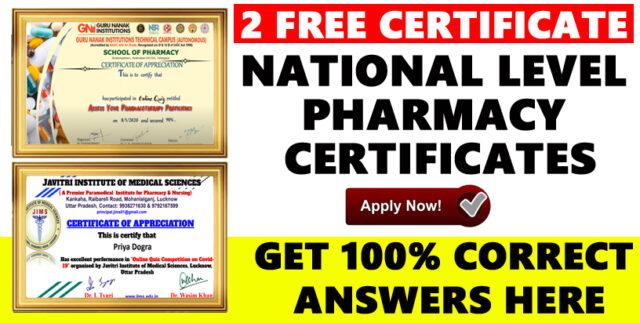 pharmacy certificates