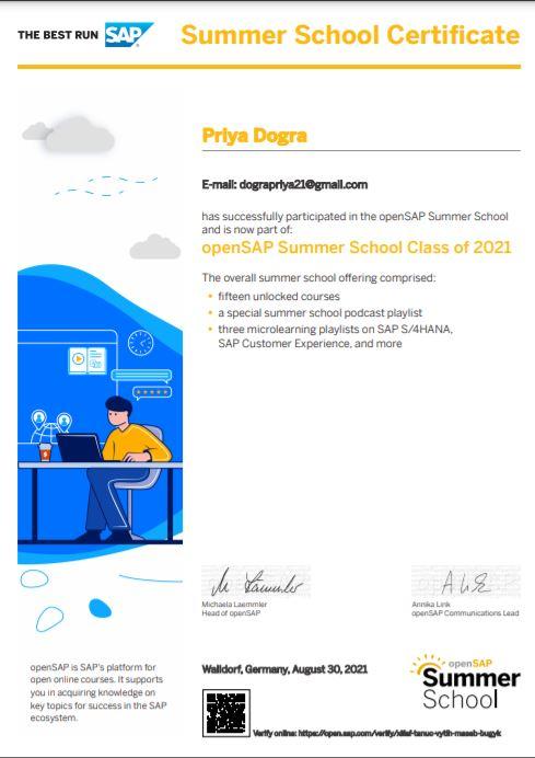 Opensap Summer school program certificate